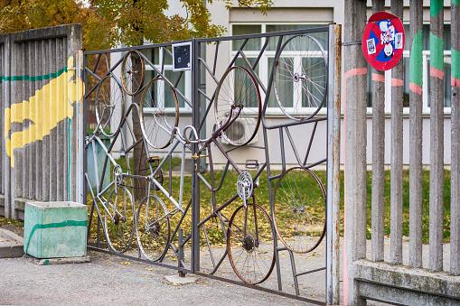 door made of bicycle wheels