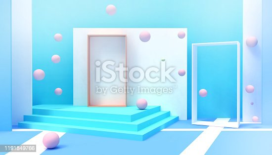 Door modern ideas of Happiness  Minimal idea space room  creative and Geometric shapes Abstract Background Inspiration Concept and celebrations  on Blue  pastel background - 3d rend