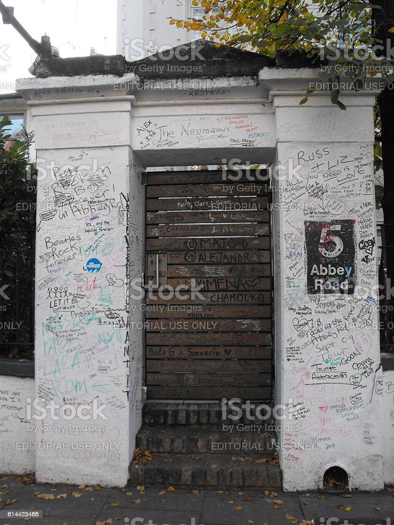 Door next  to Abbey Road Studios stock photo