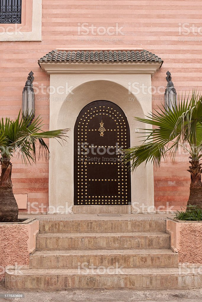 Door of a church in the Marrakech's Souk. stock photo
