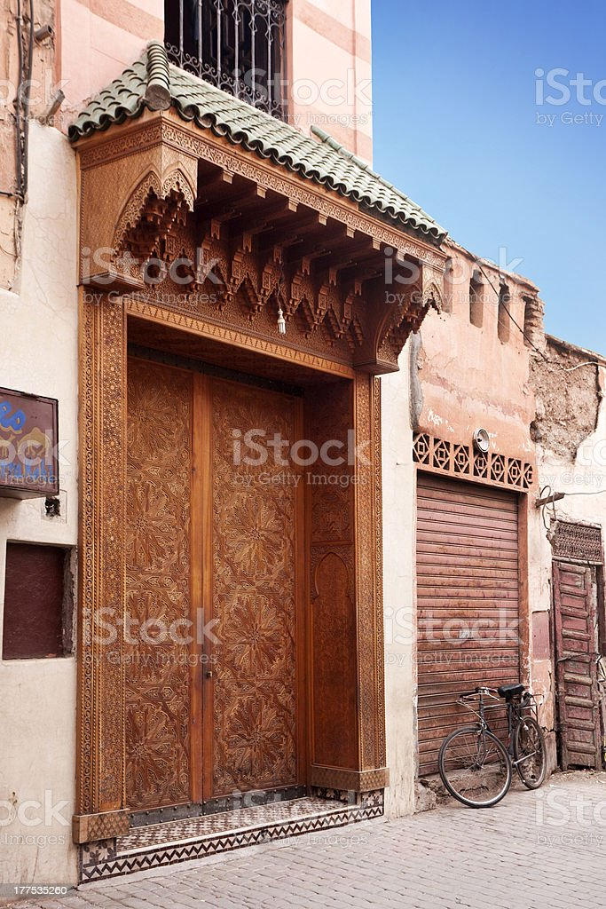 Door of a house in the Souk. stock photo