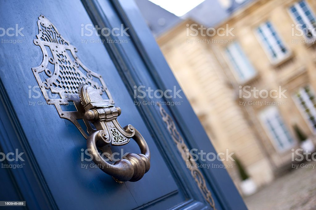 Door of a mansion stock photo