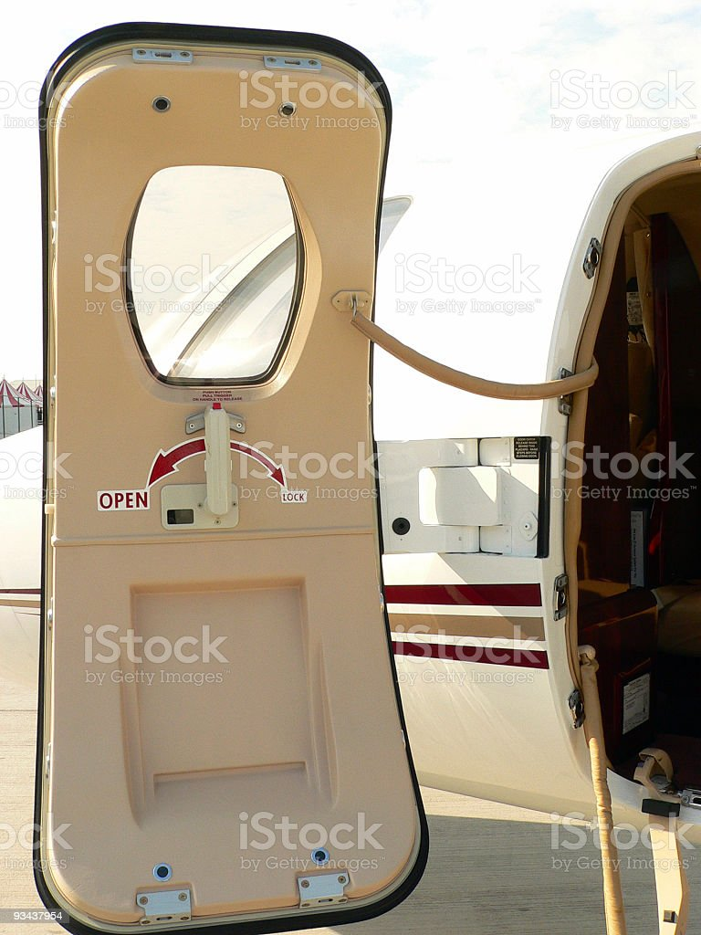 Door of a plane royalty-free stock photo