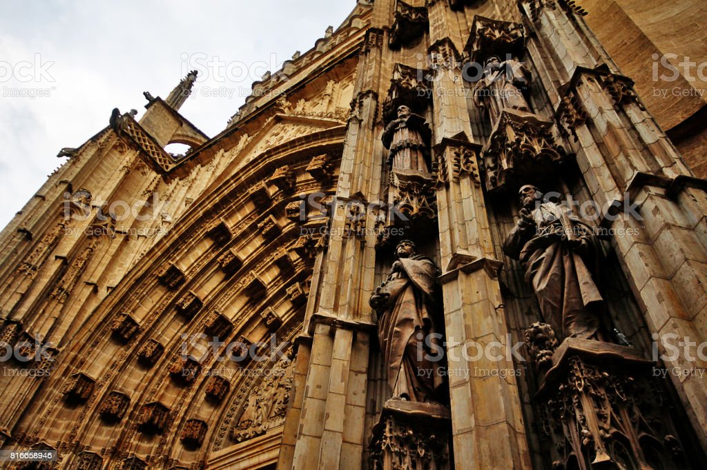 Door of Assumption or Main Door of the Cathedral of Saint Mary of the See (Catedral de Santa Maria de la Sede), or Seville Cathedral, Seville (Sevilla), Andalusia, Southern Spain stock photo