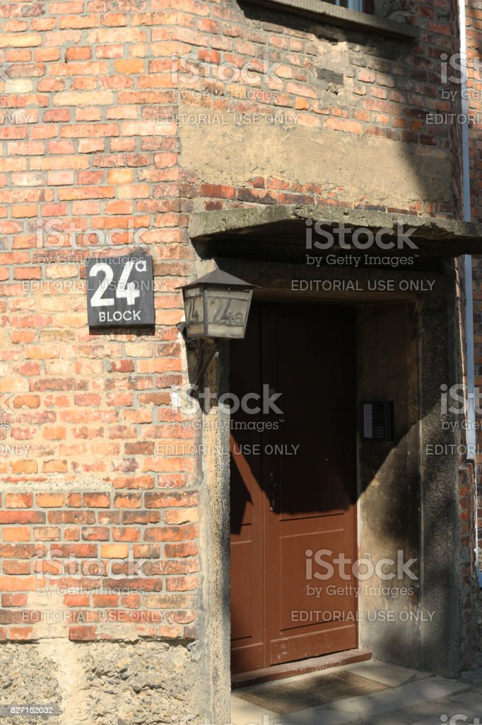 Door of block 24 at the nazi concentration camp. stock photo