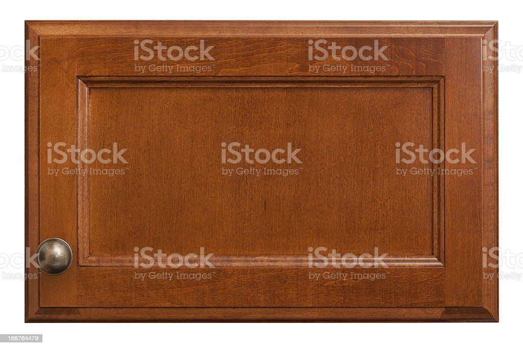 Door of Cherry Wood Kitchen Cabinet stock photo
