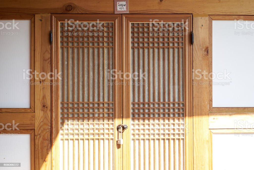 door of Korean traditional house royalty-free stock photo