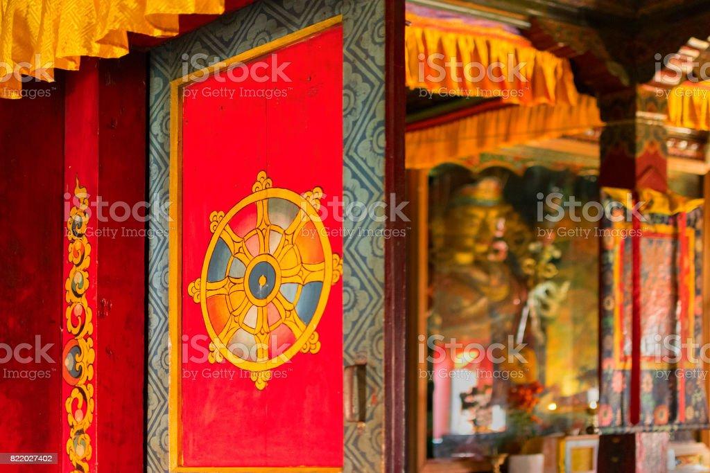 Door of Monastery - Sikkim , India stock photo