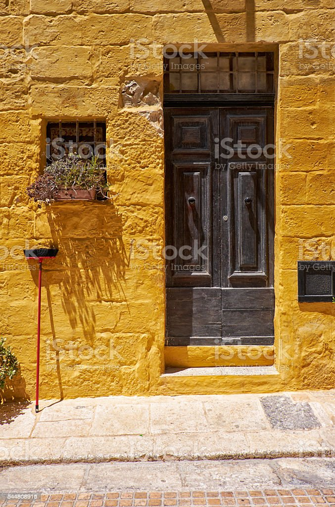 A door of old house in the street of the old capital stock photo