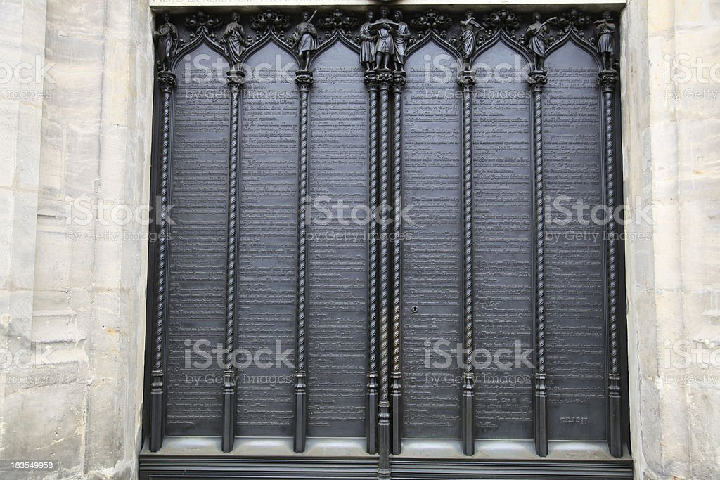 Door of the All Saints' Church, Wittenberg, Germany stock photo