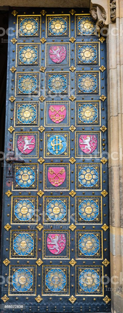 Door of the Basilica of St. Peter and St. Paul in Prague, Czech Republic stock photo
