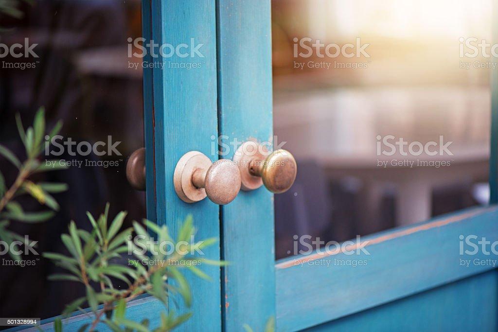 Door of the cafeteria stock photo