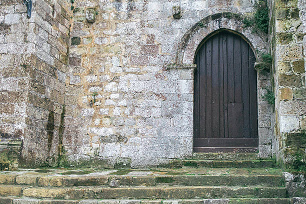 Door of the church stock photo