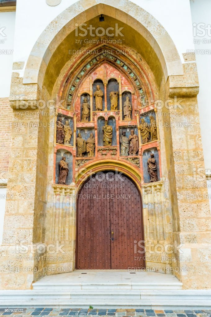 Door of the church St. Mark's in Zagreb, details stock photo
