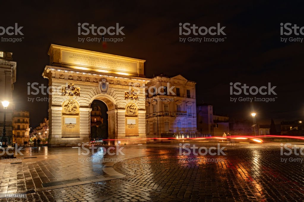 Door of the Peyrou-triumphal arch in Montpellier. Montpellier, Occitania, France stock photo