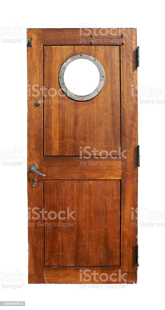 Door on the ship stock photo