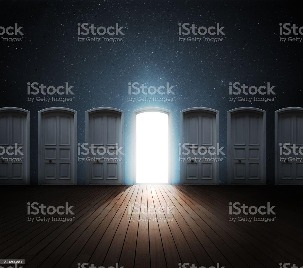 Luz de porta aberta - Foto de stock de Abrindo royalty-free