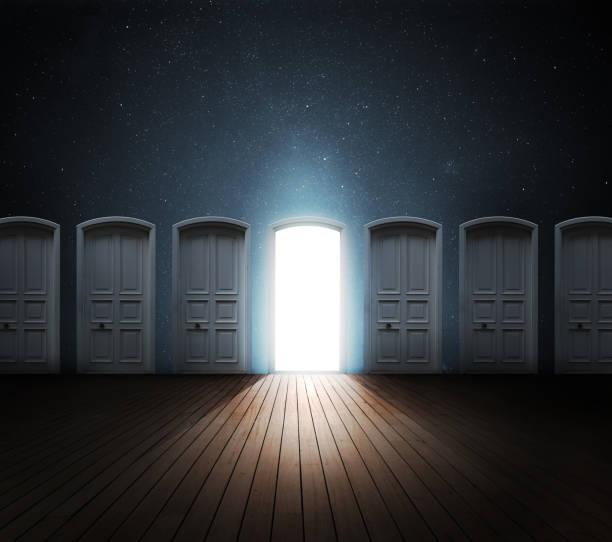 Door opened light Door opened light. hope concept stock pictures, royalty-free photos & images