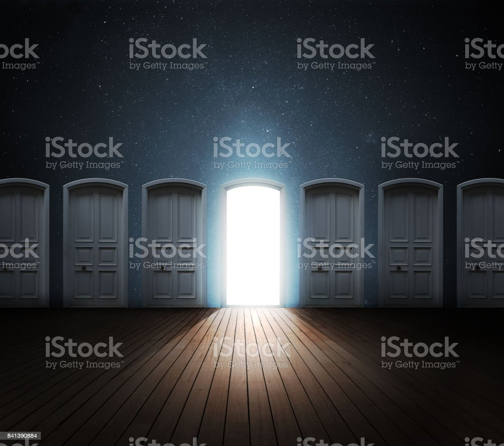 Door opened light stock photo