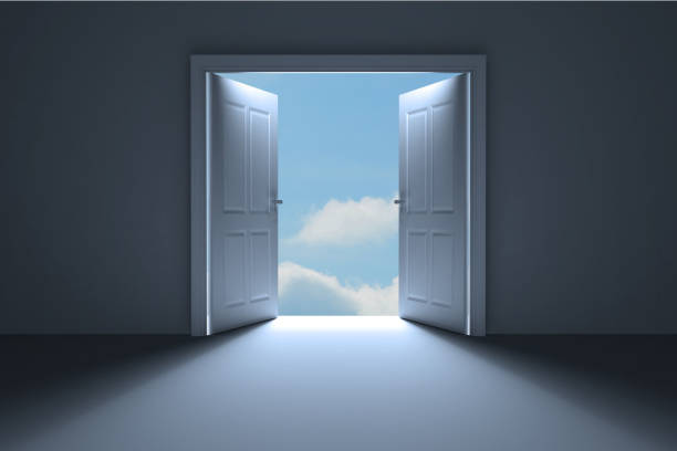 door opening in room to show sky - open stock photos and pictures