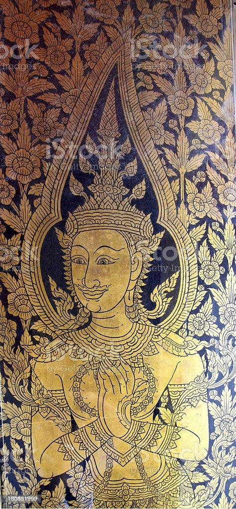 door painting at Wat Po, Thailand royalty-free stock photo