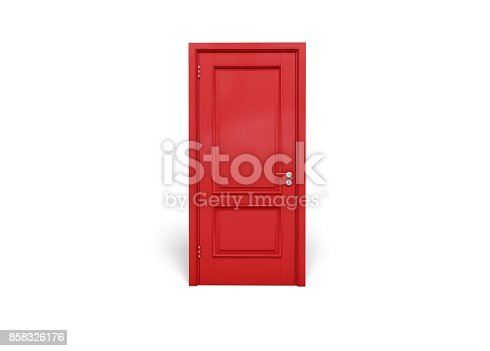 Red wooden door isolated on white background