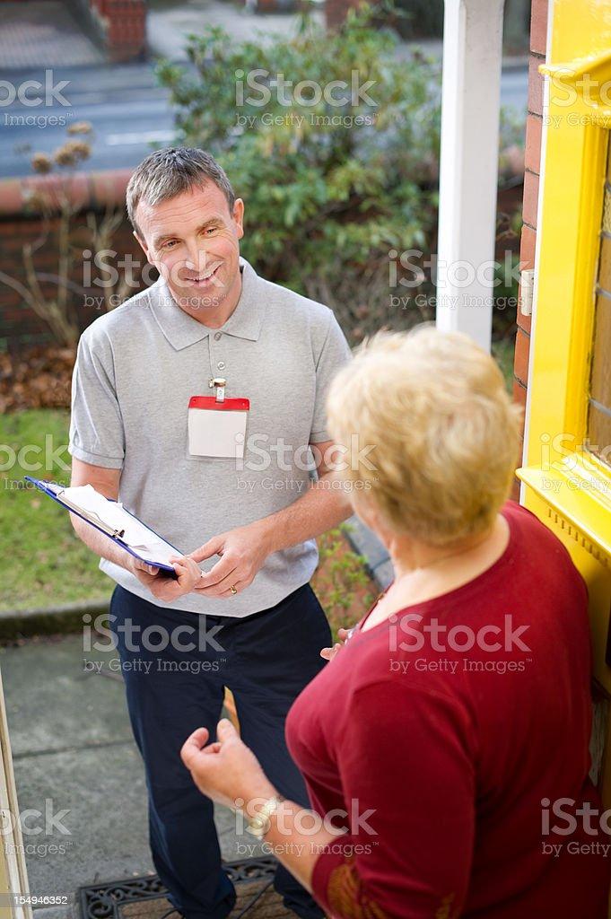 Door salesman stock photo