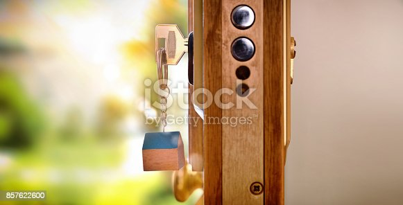 istock Door section with keys in the lock security concept 857622600