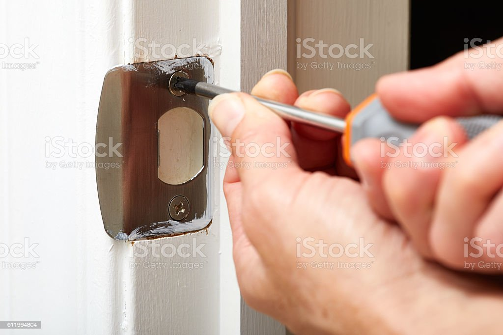 Door Strike Plate Installation Stock Photo & More Pictures