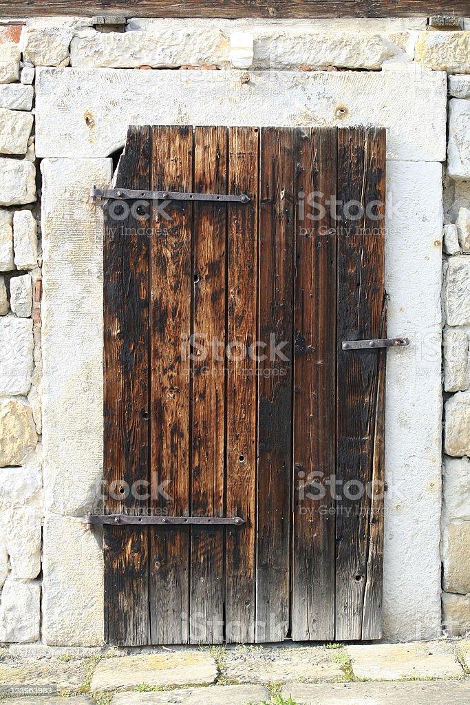 Door to a barn stock photo