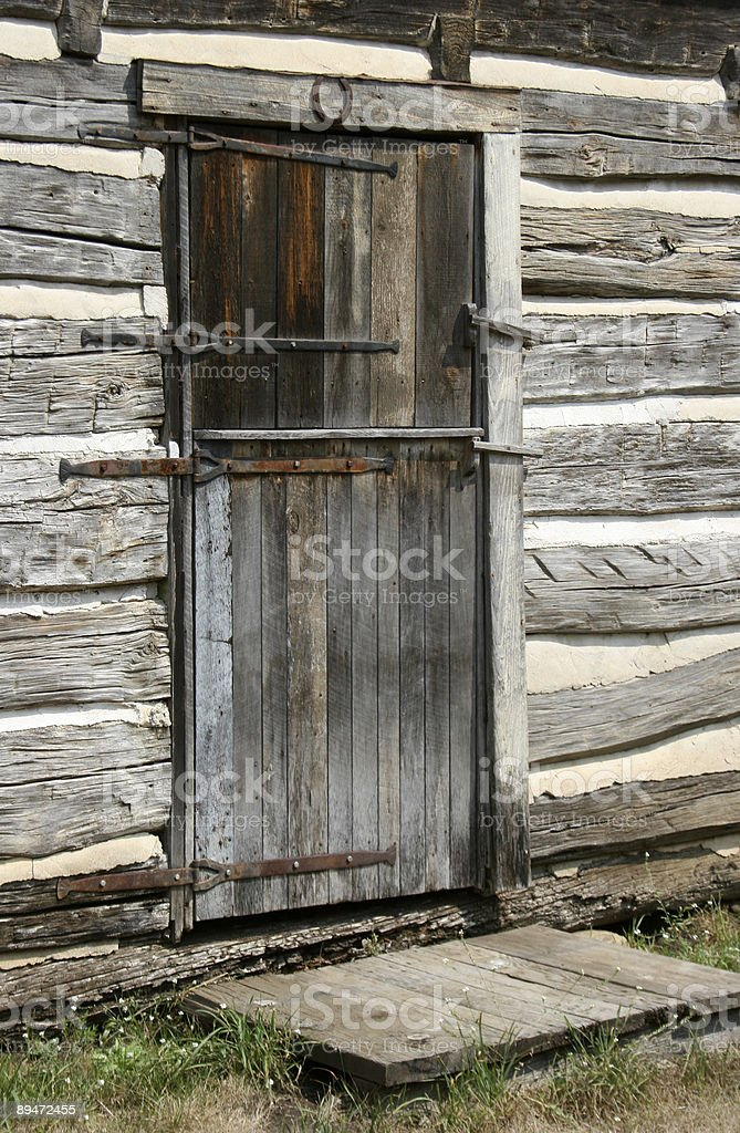 Door to a Log Cabin royalty-free stock photo