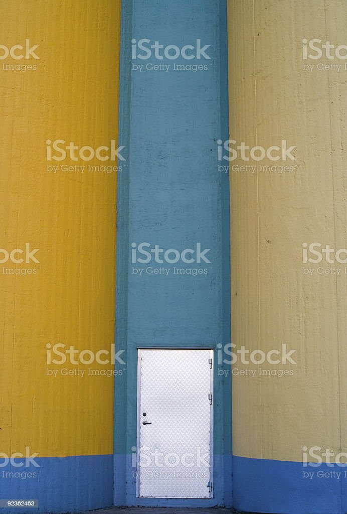 Door to abandoned grain silos royalty-free stock photo