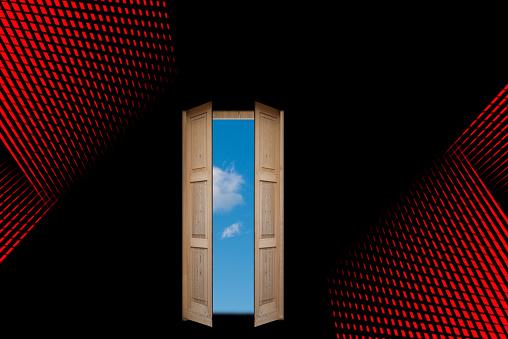 concept of door to blue sky