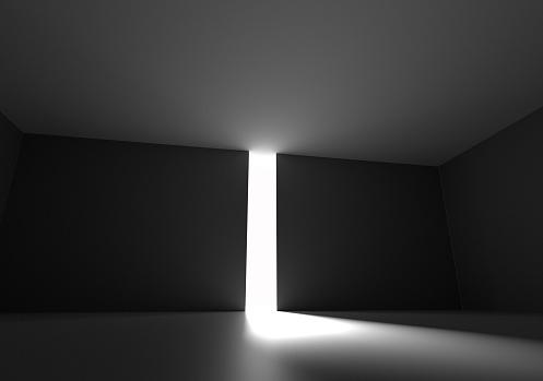 Door to dark room with bright light 3d render