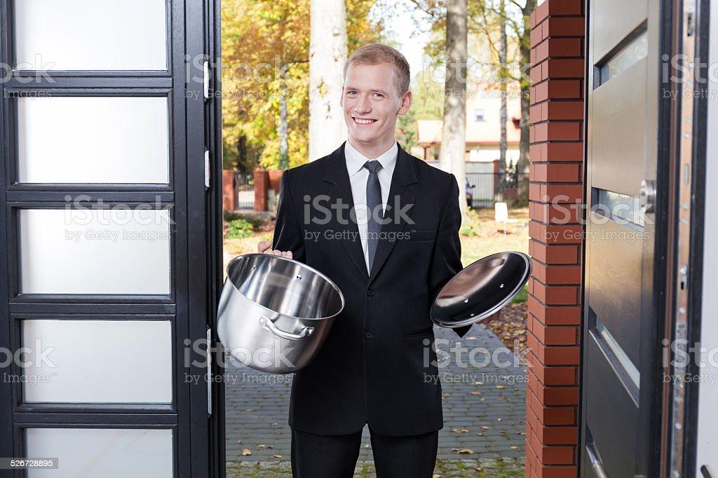 Door to door salesman stock photo