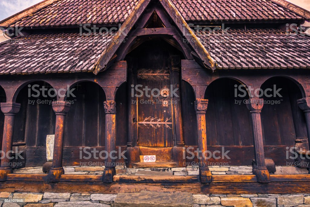Door to enter Urnes Stave Church, UNESCO site, in Ornes, Norway stock photo