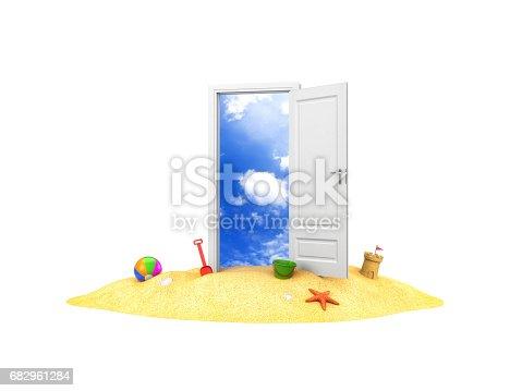 istock Door to summer holidays. Door on the sand. 3d illustration 682961284