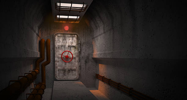 Door to the fallout shelter interior with door to the fallout shelter bomb shelter stock pictures, royalty-free photos & images