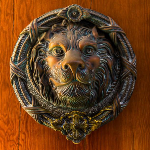 Porta com o aldrava de bronze na forma de um leão, entrada bonita à casa - foto de acervo