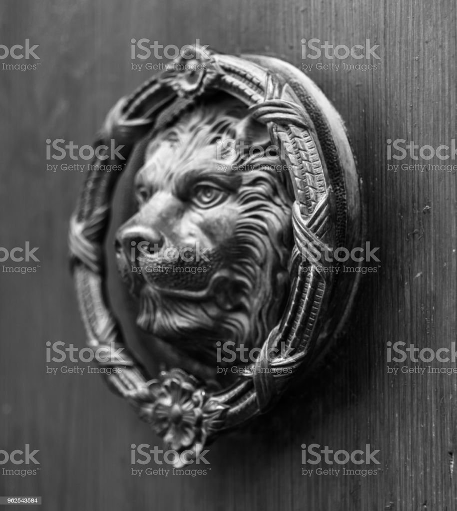 Door with brass knocker in the shape of a lion,  beautiful entrance to the house, - Royalty-free Ancient Stock Photo