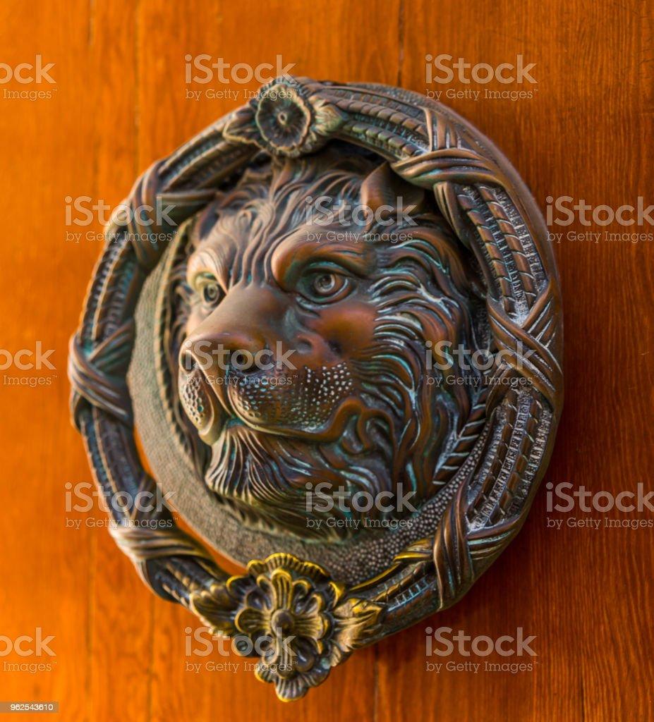 Porta com aldrava de bronze em forma de um leão, bela entrada para a casa, - Foto de stock de Animal royalty-free