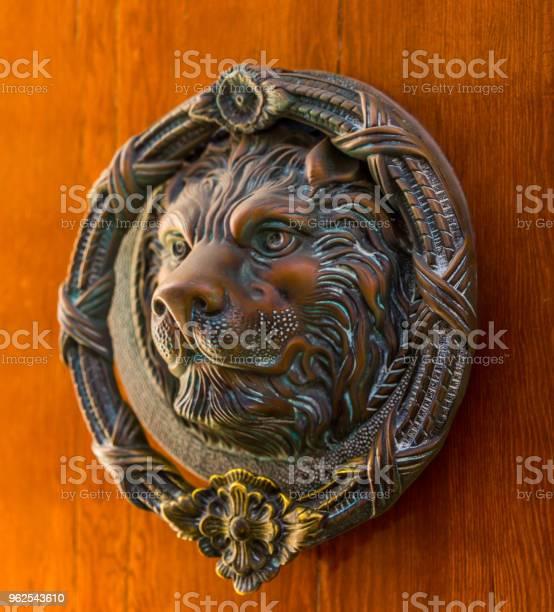 Foto de Porta Com Aldrava De Bronze Em Forma De Um Leão Bela Entrada Para A Casa e mais fotos de stock de Animal