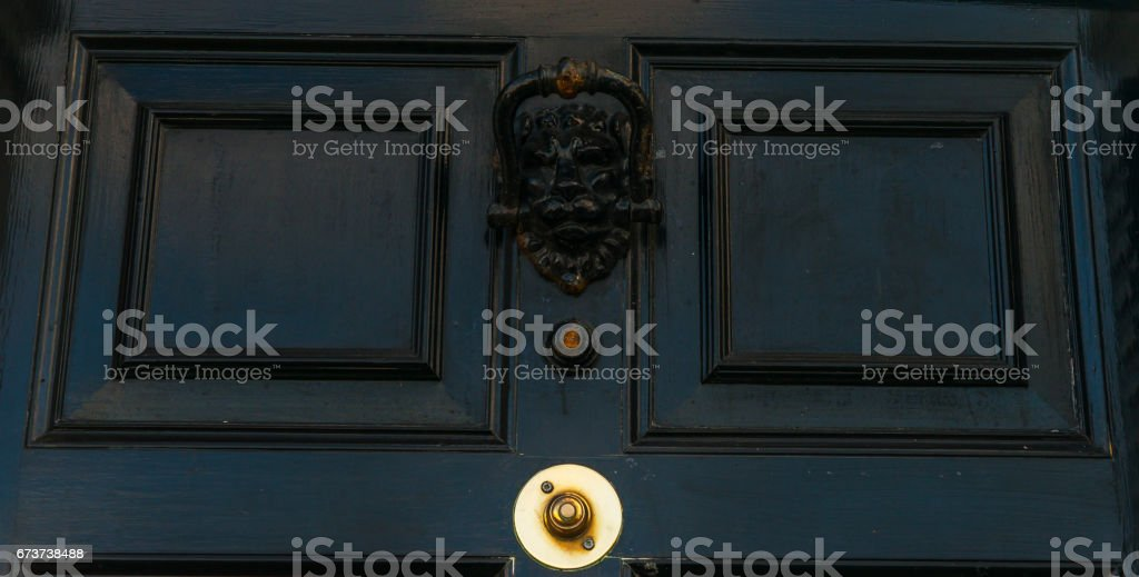 Door with brass knocker in the shape of a lion's head, beautiful entrance to the house, door bell royalty-free stock photo