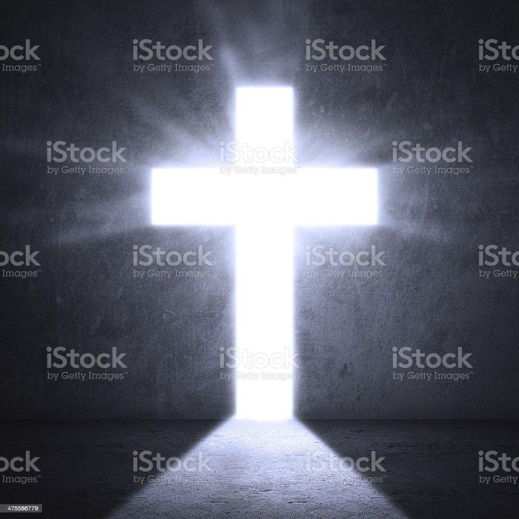 Door with bright cross stock photo