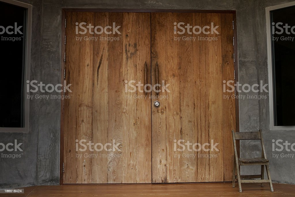 Door with chair royalty-free stock photo