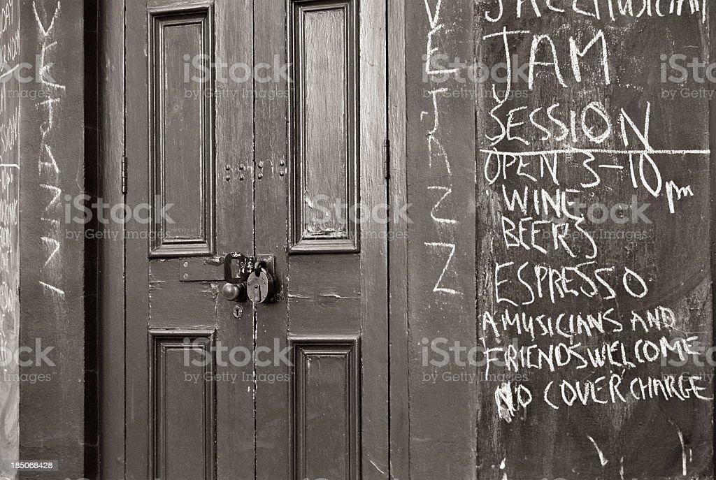Door with jazz and graffiti stock photo