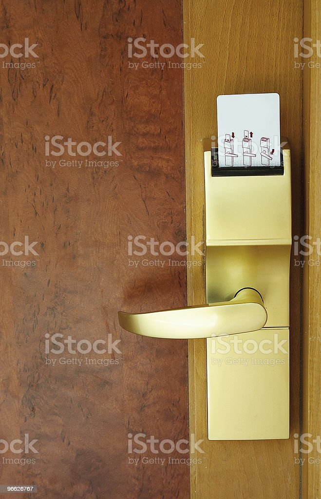 Door with security card. stock photo