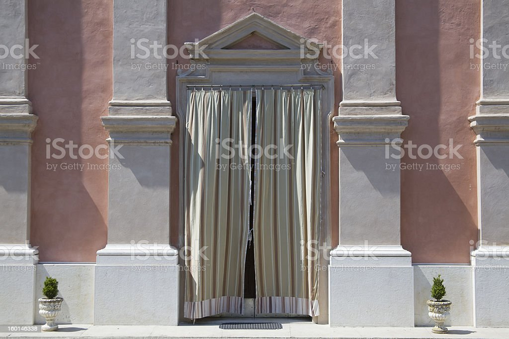 door with striped tent royalty-free stock photo