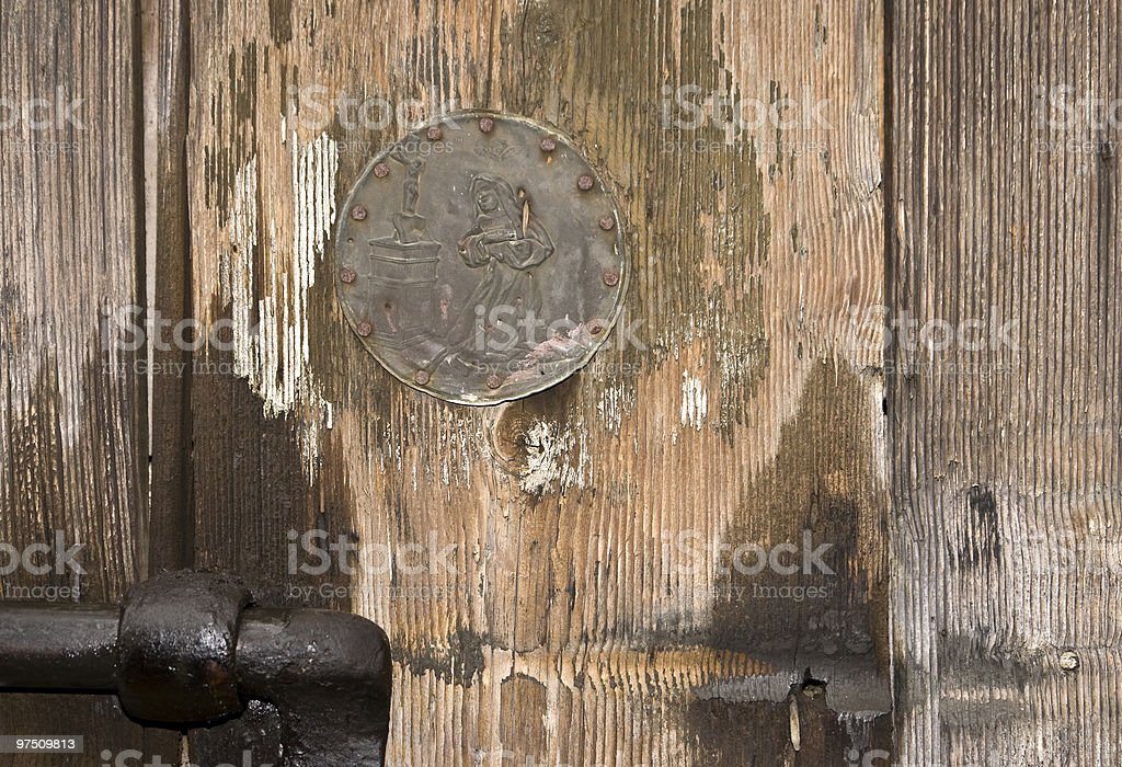 Door with Virgin Mary royalty-free stock photo