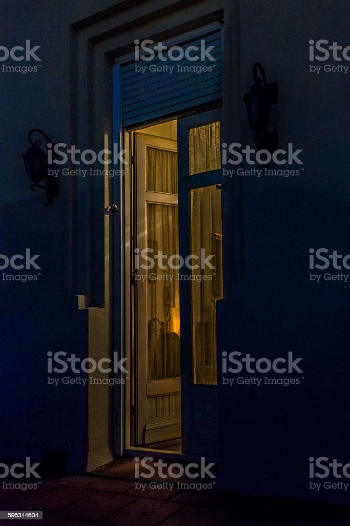 Door with Window Open Night Scene royalty-free stock photo